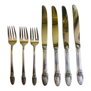 Vintage Floral Rogers Silverplate First Love Pattern Salad Forks & Knives - Set of 7 For Sale