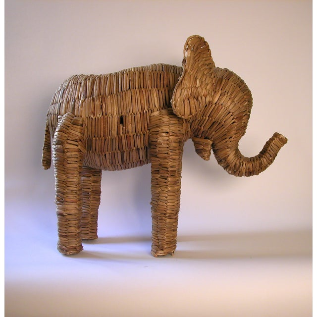 Vintage Large Seagrass Elephant - Image 7 of 7