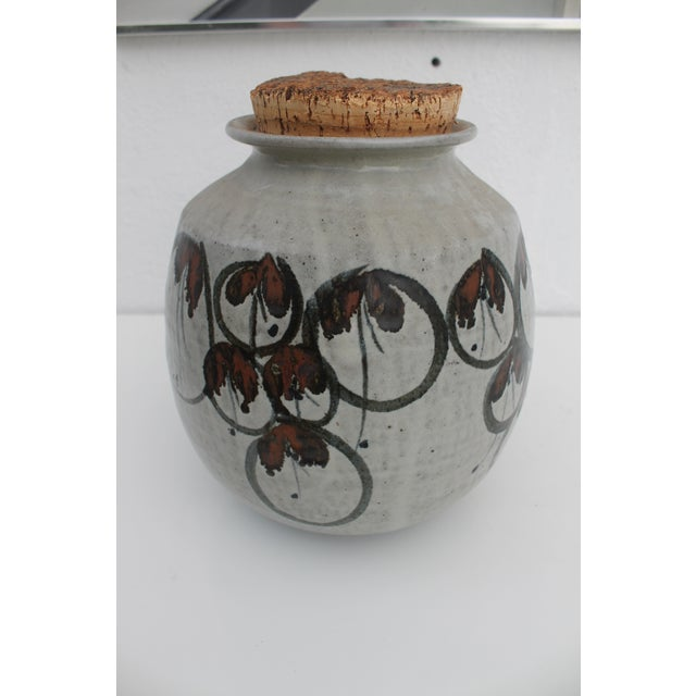 Vintage Studio Pottery Jar Vase & Cork Stopper For Sale - Image 9 of 9