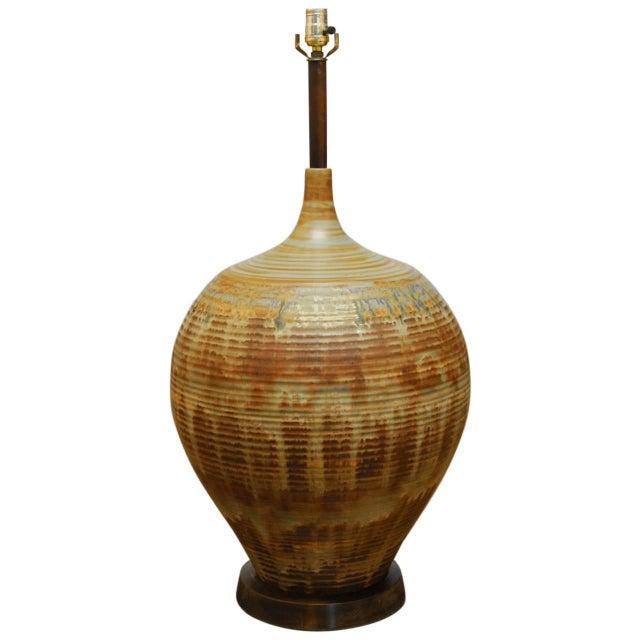 Mid-Century Drip Glaze Table Lamp - Image 1 of 5