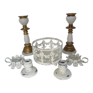 Shabby Chic Candle Holders-7 Pieces For Sale