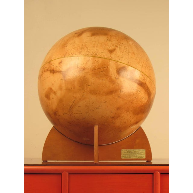 Important and very rare first edition visual relief Mariner 9 Mars Globe by Denoyer-Geppert, 1973. Color lithograph globe....