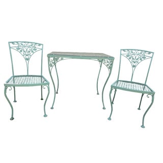 Vintage Russell Woodard Orleans Teal Table & Chairs Patio Set For Sale