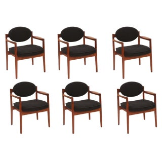 Six Sculpted Walnut Armchairs by Jens Risom For Sale