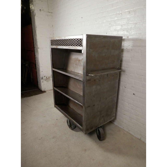 Large Industrial Metal Rolling Cart For Sale - Image 4 of 9