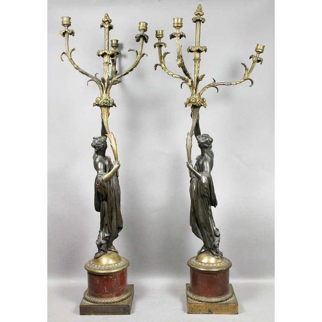 Bronze Pair of Louis XVI Bronze and Ormolu Candelabra For Sale - Image 7 of 10