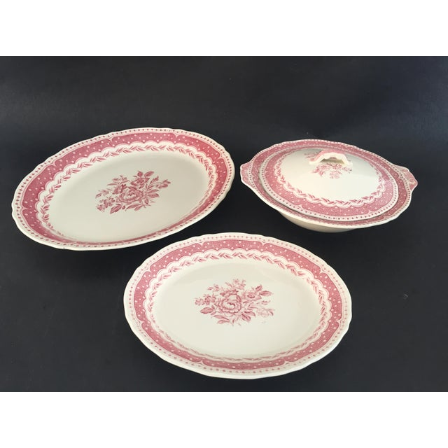 Vintage AVON pattern Grindley-England 3-Piece Serving Set Excellent (some grazing) porcelain, pink/off-white.