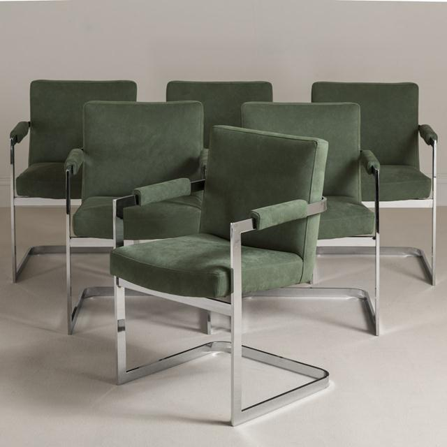 A Set of Six Nickel Plated Cantilever Armchairs 1970s For Sale - Image 6 of 6