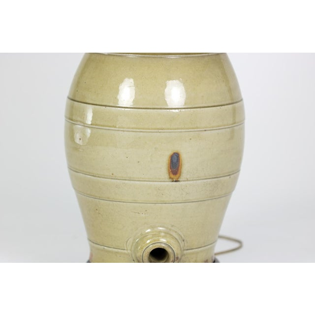 Late 19th Century Pale Green Glazed Spirit Barrel, English Circa 1880 Mounted and Wired as a Table Lamp With Linen Shade For Sale - Image 5 of 13