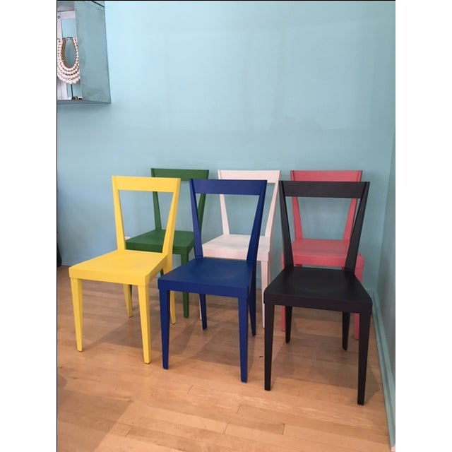 Set of 6 Livia Chairs in matte lacquered Beech. Made in Italy by l'abbate. Mixture of 6 colors - one in black, green,...
