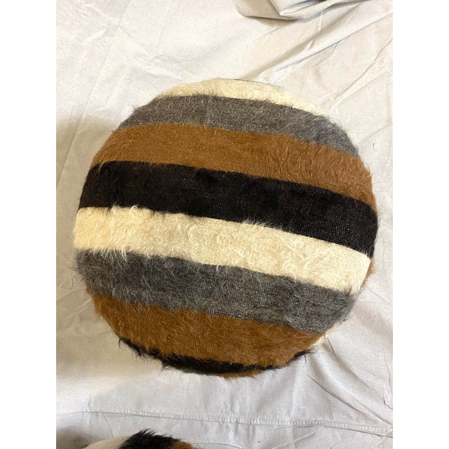 1980s Stunning Pair of Vintage Alpaca Fur Ottomans Foot Stools For Sale - Image 5 of 8