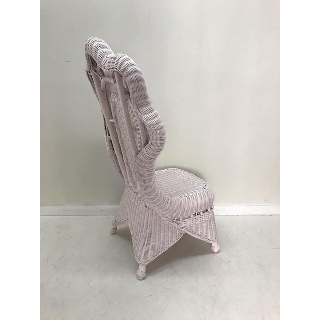 Wicker Victorian Scalloped Edged Accent Side Chair For Sale In West Palm - Image 6 of 7