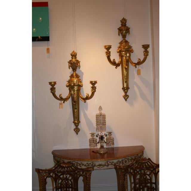 French Louis XVI Style Monumental Three-Arm Wall Sconces - Set of 4 For Sale - Image 4 of 5