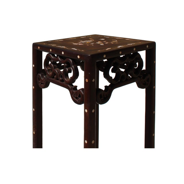 2010s Chinese Huali Dark Brown Square Mother of Pearl Inlay Stand Pedestal Table For Sale - Image 5 of 8