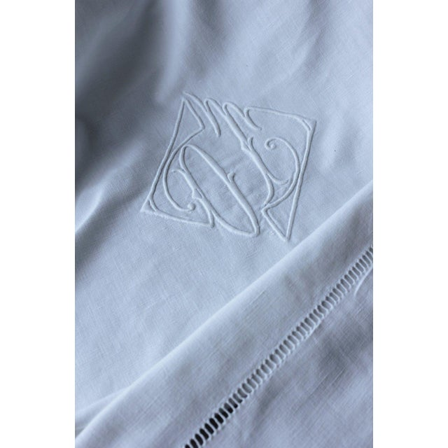 """French Vintage French Sheet White Woven Cotton """"OT"""" Monogram Fabric - 87"""" X 117"""" For Sale - Image 3 of 5"""