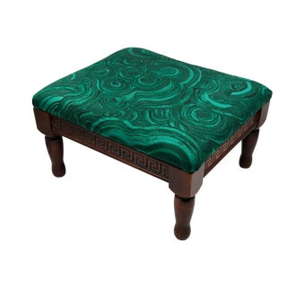 Art Deco Petite Footstool With Greek Key Carvings and Malachite Upholstery For Sale