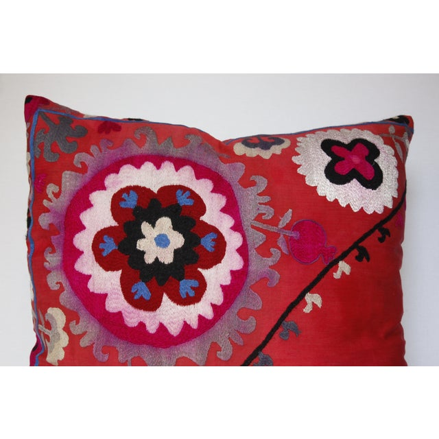 Red Vintage Needlework Suzani Pillow Cover For Sale - Image 8 of 12