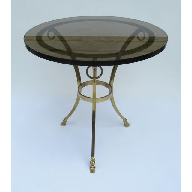 American Classical Vintage LaBarge Regency Brass Hoofed & Bronze Glass Gueridon Table For Sale - Image 3 of 13