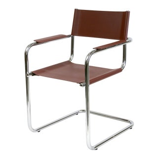 Marcel Breuer Bauhaus Cantilever Leather & Chrome Tube Frame Chair