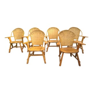Old Hickory Ash Wood Dining Chairs - Set of 6 For Sale