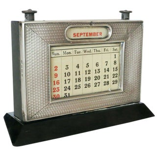 Silver Perpetual Desktop Calendar by w.j. Myatt & Co. For Sale