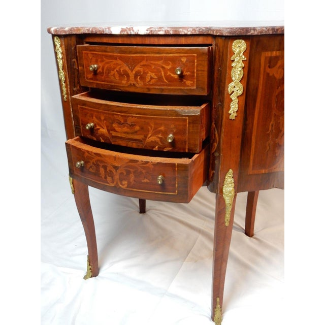 19th C. Italian Marquetry Marble Top Inlaid Table For Sale - Image 11 of 11