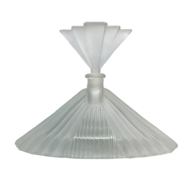 Art Deco Frosted Glass Perfume Bottle - Image 1 of 4