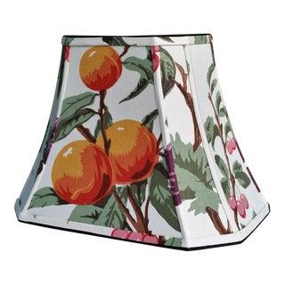 Vintage Fabric Orange Grapes Cherries Rectangle Cut Corner Lampshade For Sale