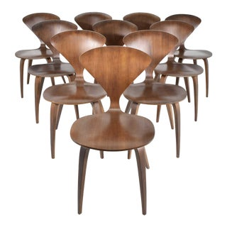 Cherner Mid-Century Modern Walnut Side Chairs - Set of 10 For Sale