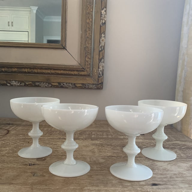 Portieux Vallerysthal White Champagne Coupe Glasses- a set of four. Early 20th century and made in France.