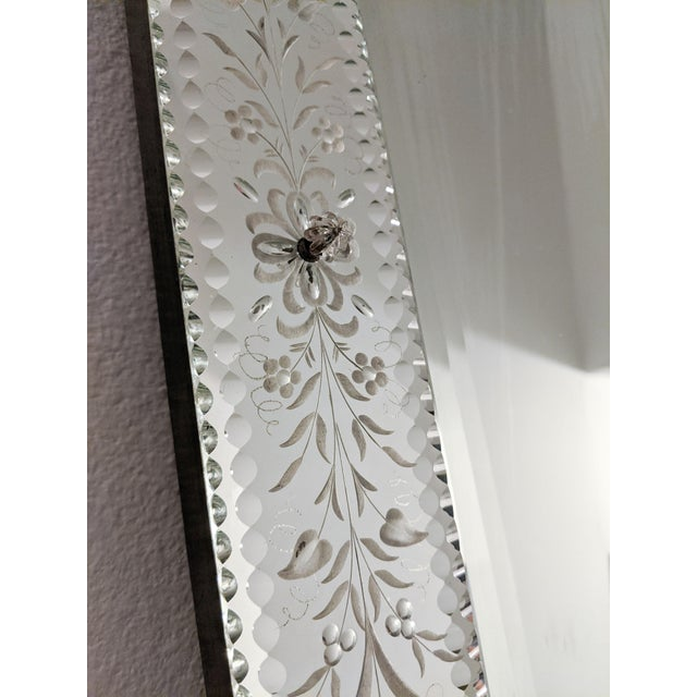 Glass Early 20th Century Vintage Etched Venetian Mirror For Sale - Image 7 of 13