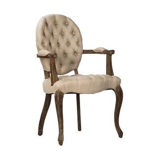 Tufted Oval Back Arm Chair For Sale