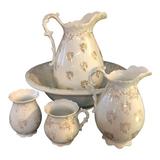Vintage Homer Laughlin Wash Basin Pitcher and Accessories - Set of 5 For Sale