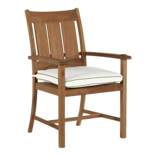 Summer Classics Croquet Teak Arm Chair in Linen Snow with Wasabi Welt For Sale