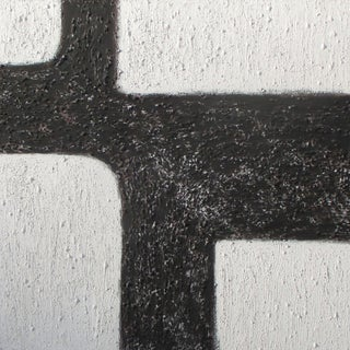 Black and White Relief Abstraction by Diane Grant Oil on Canvas Painting For Sale