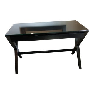 Campaign Create & Barrel Ebony Glass Top Writing Desk For Sale
