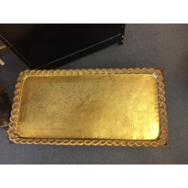 1950s Moroccan Style Hand-Etched and Hammered Brass Tray Top Table For Sale - Image 5 of 12