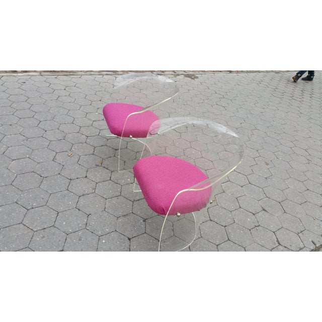 1970's Mid-Century Flexuous Lucite Chairs - A Pair - Image 4 of 9