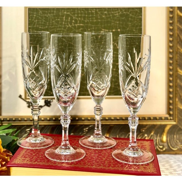 Mid 20th Century Cristal De Paris Lead Crystal Hand Cut Champagne Glasses - Set of 4 For Sale In Phoenix - Image 6 of 8