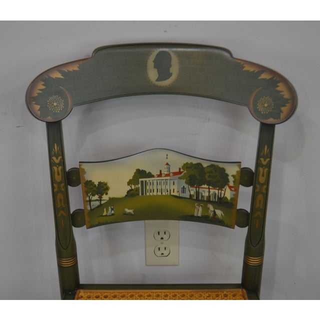 Hitchcock Green Painted George Washington Mt Vernon Cane Seat Side Chair For Sale - Image 9 of 13