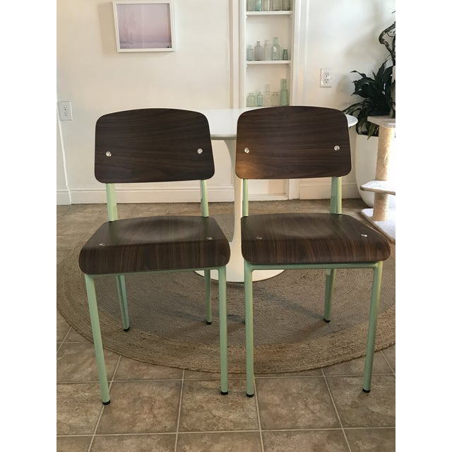 Walnut Modern Industry West Prouvé Style Dining Chairs - a Pair For Sale - Image 7 of 7