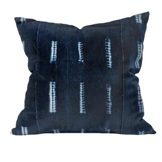 African Indigo Mudcloth Pillow | Dna 18x18 For Sale