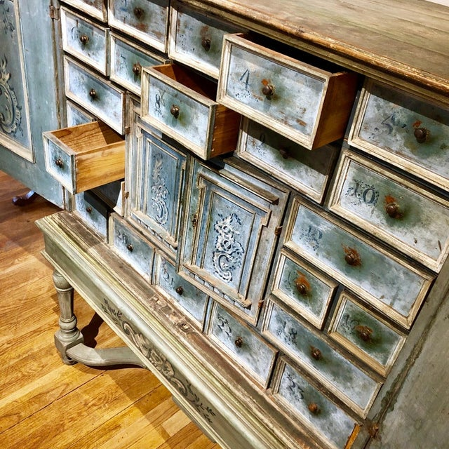 Metal 17th Century Blue Hand Painted Swiss Baroque Multi-Drawer Cabinet For Sale - Image 7 of 8