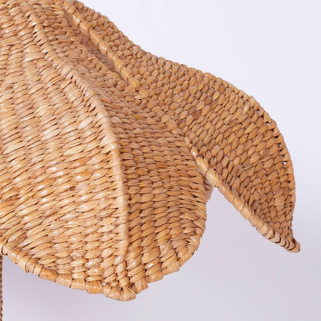 Early 21st Century Mario Lopez Torres Wicker Egret Table Lamps - a Pair For Sale - Image 5 of 10