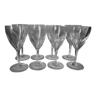 1980s Baccarat Genova Cut Tall Water Glasses, France - Set of 8 For Sale