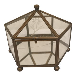 Hexagonal Glass Brass-Framed Box