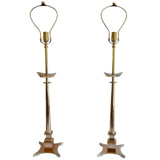 Brass Table Lamps in the Style of Tommi Parzinger For Sale