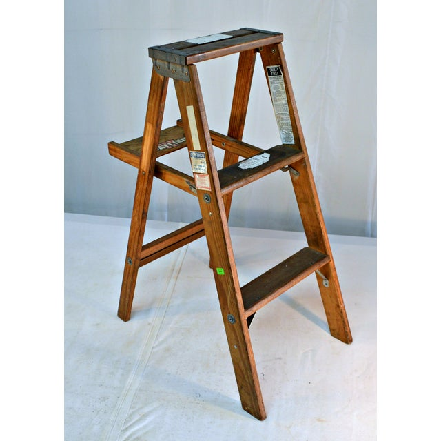Wood Vintage Wooden Ladder with Tool Shelf For Sale - Image 7 of 7