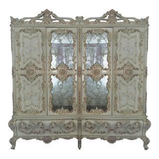 Large Rare Romantic Antique Cream French Rococo Ornate Armoire Fancy Wardrobe W/ Mirrors For Sale