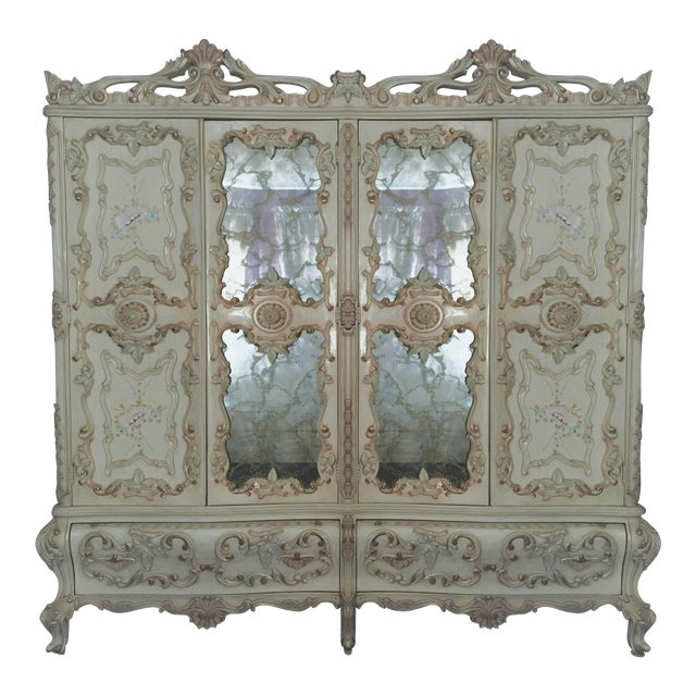 Large Rare Romantic Antique Cream French Rococo Ornate Armoire Fancy Wardrobe W/ Mirrors For Sale